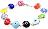 Sterling Silver Evil Eye Bracelet-multi color