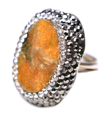 Sterling silver ring with druzy stone and cz's.