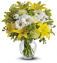 Forget your troubles and just get this spectacularly happy bouquet of yellow lilies, green carnations and other sunny favorites beautifully arranged in a classic ginger jar. It's like a whole week of indoor sunshine. Treat yourself and a friend.