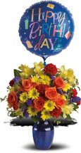 Make birthday spirits soar by sending this fabulously fun birthday bouquet and balloon. Bright primary colors make it perfect for guys and gals. Years may fly by but that doesn't mean birthday celebrations need to!