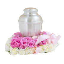 "Pink, pretty and precious blooms provide a perfect bed for this memorial. Approximately 14"" by 14"""