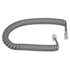 RJ-22 Modular Coiled Handset Cord, Dark Gray, 12-ft. (3.6-m)