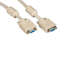 VGA Video Cable with Ferrite Core, Beige, Female/Female, 20-ft. (6.0-m)