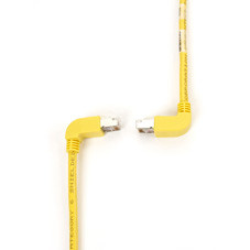 SpaceGAIN CAT6 Shielded, Stranded 250-MHz Angled Patch Cable (SSTP, PIMF), 90  Down 90  Up, Yellow, 1-ft. (0.3-m)
