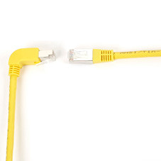 SpaceGAIN CAT6 Shielded, Stranded 250-MHz Angled Patch Cable (SSTP, PIMF), 90  Down Straight, Yellow, 3-ft. (0.9-m)
