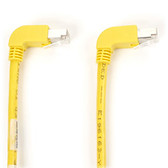 SpaceGAIN CAT6 Shielded, Stranded 250-MHz Angled Patch Cable (SSTP, PIMF), 90  Down 90  Down, Yellow, 10-ft. (3.0-m)