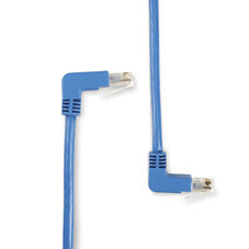 SpaceGAIN CAT6 250-MHz Angled Patch Cable (UTP), 90  Down 90  Up, Blue, 3-ft. (0.9-m)