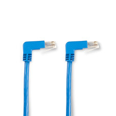 SpaceGAIN CAT5e Shielded, Stranded, 100-MHz Angled Patch Cable (F/UTP), 90  Down 90  Down, Blue, 3-ft. (0.9-m)