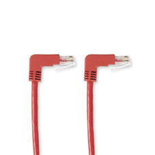 SpaceGAIN CAT6 250-MHz Angled Patch Cable (UTP), 90  Down 90  Down, Red, 3-ft. (0.9-m)