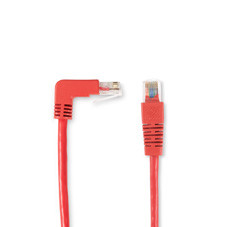 SpaceGAIN CAT5e 100-MHz Angled Patch Cable (UTP), 90  Down 180  Straight, Red, 10-ft. (3.0-m)