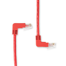 SpaceGAIN CAT5e 100-MHz Angled Patch Cable (UTP), 90  Down 90  Up, Red, 10-ft. (3.0-m)