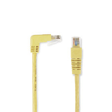 SpaceGAIN CAT5e 100-MHz Angled Patch Cable (UTP), 90  Down 180  Straight, Yellow, 10-ft. (3.0-m)