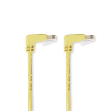 SpaceGAIN CAT5e 100-MHz Angled Patch Cable (UTP), 90  Down 90  Down, Yellow, 15-ft. (4.5-m)