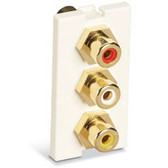 GigaStation+ RCA Audio/Video Module, 1 Unit High, Female/Female, Feed-Through, Office White, Gold-Plated