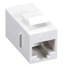 CAT5e Keystone Coupler, Straight-Pinned, Unshielded, White, Single-Pack