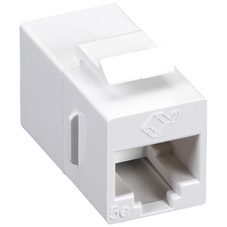 CAT5e Keystone Coupler, Straight-Pinned, Unshielded, White, 10-Pack