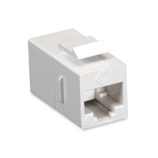 CAT6 Keystone Feed-Through Straight-Pinned Coupler, Unshielded, White