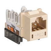 GigaBase  CAT5e Jack, Universal Wiring, Single-Pack, Telco Ivory