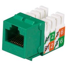 GigaBase2 CAT5e Jack, Universal Wiring, Green, 25-Pack