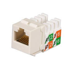 GigaBase2 CAT5e Jack, Universal Wiring, Office White, Single-Pack