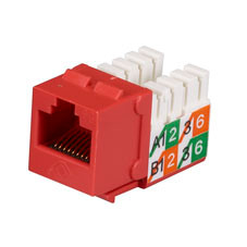 GigaBase2 CAT5e Jack, Universal Wiring, Red, Single-Pack