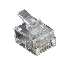 RJ-11 Modular Connector, 4-Wire, 100-Pack