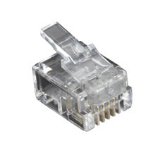RJ-11 Modular Connector, 4-Wire, 10-Pack