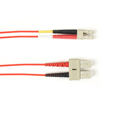 Multimode, 10-GbE 50-Micron OM3, Multicolored Fiber Optic Patch Cable, Plenum, SC LC, Red, 1-m (3.2-ft)