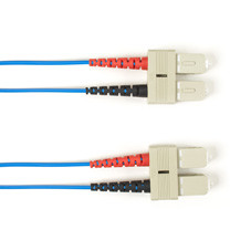 Multimode, 10-GbE 50-Micron OM3, Multicolored Fiber Optic Patch Cable, Plenum, SC-SC, Blue, 1-m (3.2-ft)