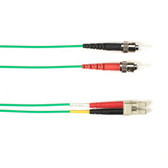 Multimode, 10-GbE 50-Micron OM3, Multicolored Fiber Optic Patch Cable, Plenum, ST LC, Green, 1-m (3.2-ft)