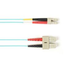 Multimode, 10-GbE 50-Micron OM3, Multicolored Fiber Optic Patch Cable, Plenum, SC LC, Aqua, 2-m (6.5-ft.)