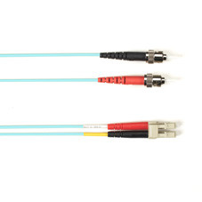 Multimode, 10-GbE 50-Micron OM3, Multicolored Fiber Optic Patch Cable, Plenum, ST LC, Aqua, 2-m (6.5-ft.)
