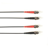 Multimode, 10-GbE 50-Micron OM3, Multicolored Fiber Optic Patch Cable, Plenum, ST-ST, Black, 2-m (6.5-ft.)