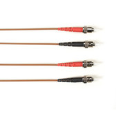 Multimode, 10-GbE 50-Micron OM3, Multicolored Fiber Optic Patch Cable, Plenum, ST-ST, Brown, 2-m (6.5-ft.)