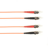 Multimode, 10-GbE 50-Micron OM3, Multicolored Fiber Optic Patch Cable, Plenum, ST-ST, Orange, 2-m (6.5-ft.)