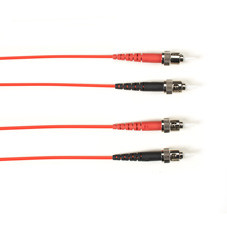 Multimode, 10-GbE 50-Micron OM3, Multicolored Fiber Optic Patch Cable, Plenum, ST-ST, Red, 2-m (6.5-ft.)
