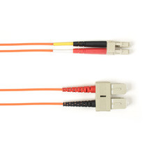 Multimode, 10-GbE 50-Micron OM3, Multicolored Fiber Optic Patch Cable, Plenum, SC LC, Orange, 3-m (9.8-ft.)
