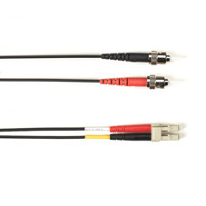 Multimode, 10-GbE 50-Micron OM3, Multicolored Fiber Optic Patch Cable, Plenum, ST LC, Black, 3-m (9.8-ft.)