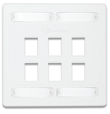 10GMX-FPD06-02 | Siemon Solutions<br>10GMX DOUBLE GANG FACEPLATE 6-PORT,WHITE