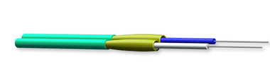 002T51-31480-24: Corning   Legend Flame-Retardant Outer Jacket Tight-Buffered Fiber Dielectric Strength Members More Zipcord Tight-Buffered Cable, Riser, 2 F, 1.6 mm diameter, 50 µm multimode (OM3)