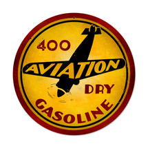 """Aviation Gasoline Round"" Pasttime Signs"