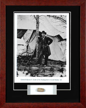 Ulysses Grant framed photograph - matted to include a Civil War bullet