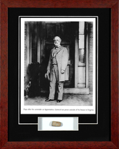 General Robert Lee framed photograph - matted to include a Civil War bullet