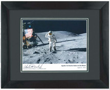 Apollo 16 framed photograph signed by Astronaut Charlie Duke
