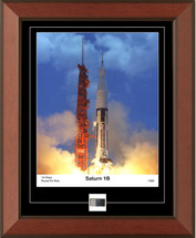 Saturn 1B photograph - matted to include 1st stage rocket fin relic