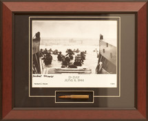 "D-Day ""Utah Beach"" framed photograph signed by survivor Herbert Moore"