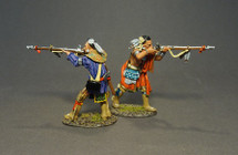 STOCKBRIDGE INDIANS,  Woodland Indians Firing Musket  (2pcs) - Limited Edition   1:30   John Jenkins Designs   JJ-RR-30B