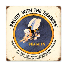 Seabees Vintage Metal Sign Pasttime Signs
