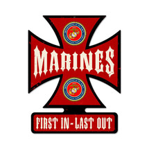 Marines Iron Cross Metal Sign Pasttime Signs
