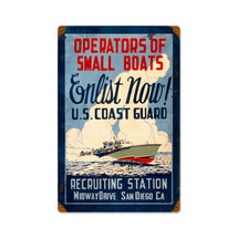 Coast Guard Enlist Vintage Metal Sign Pasttime Signs